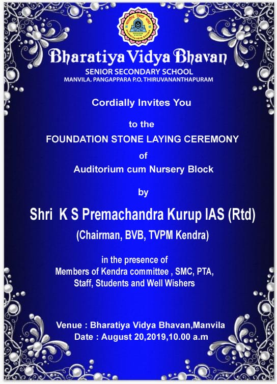 foundation stone laying-bhavans monvila, trivandrum